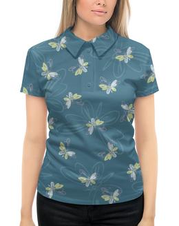 """Рубашка Поло с полной запечаткой """"Бабочки"""" - бабочки, крылья, голубой, желтый, насекомые"""