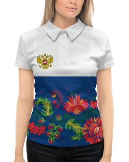 """Рубашка Поло с полной запечаткой """"Хохлома"""" - цветы, россия, герб, орел, хохлома"""