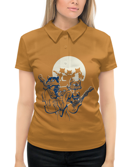 """Рубашка Поло с полной запечаткой """"Кошачий концерт"""" - музыка, группа, кошки, джаз, концерт"""
