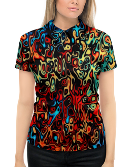"""Рубашка Поло с полной запечаткой """"Пятна красок"""" - узор, рисунок, пятна, краски, цветные"""