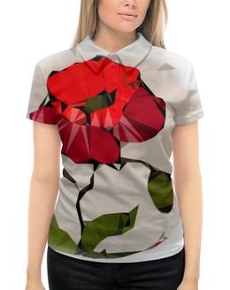 """Рубашка Поло с полной запечаткой """"Мак..."""" - цветы, природа, женщине, мак"""