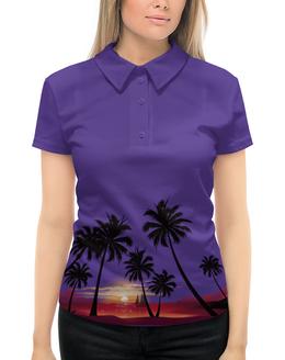 """Рубашка Поло с полной запечаткой """"Острова в океане"""" - море, закат, яхта, острова, пальмы"""