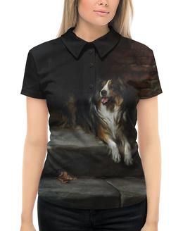 """Рубашка Поло с полной запечаткой """"Колли (картина Артура Вардля)"""" - собака, колли, черно-белый, живопись, артур вардль"""