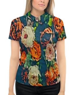 """Рубашка Поло с полной запечаткой """"Flowers"""" - цветы, узор, весна, цветочки, пионы"""