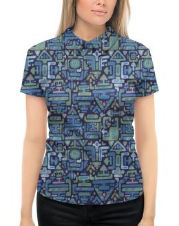 """Рубашка Поло с полной запечаткой """"Символы"""" - узор, знаки, символы, иероглифы, стрелки"""