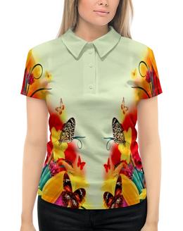 """Рубашка Поло с полной запечаткой """"краски весны"""" - бабочки, цветы, листья, весна, тюльпаны"""