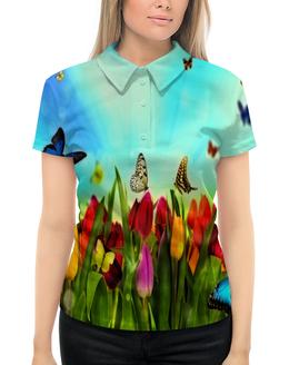 """Рубашка Поло с полной запечаткой """"Весна"""" - бабочки, лето, цветы, весна, цветочки"""