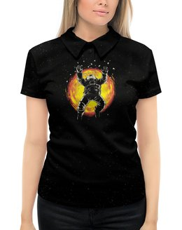 """Рубашка Поло с полной запечаткой """"Последний полет"""" - звезды, солнце, космос, фантастика, космонавт"""