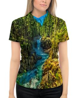 """Рубашка Поло с полной запечаткой """"Лесной пейзаж"""" - природа, горы, река, деревья, пейзаж"""
