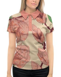 """Рубашка Поло с полной запечаткой """"Нежный цветок"""" - цветы, рисунок, цветистый, нежный цветок"""