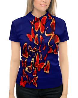"""Рубашка Поло с полной запечаткой """"Полет"""" - бабочки, полет, природа, цветные, насекомые"""