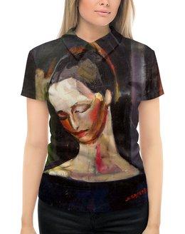 """Рубашка Поло с полной запечаткой """"Женский портрет (картина Ильи Машкова)"""" - картина, портрет, живопись, машков"""
