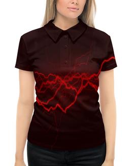"""Рубашка Поло с полной запечаткой """"Молнии"""" - молния, разряд, вспышка, краски, красный"""
