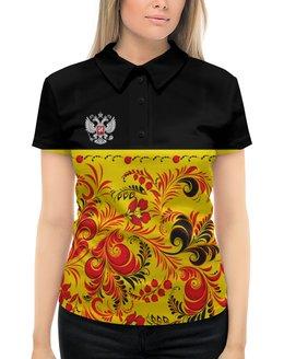 """Рубашка Поло с полной запечаткой """"Россия"""" - цветы, русский, россия, герб, орел"""