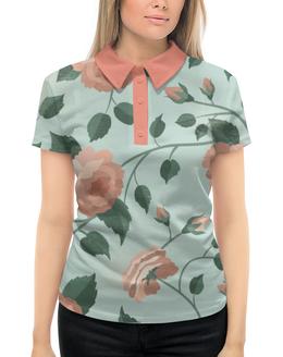 """Рубашка Поло с полной запечаткой """"Розочки"""" - цветы, розы, розочки"""