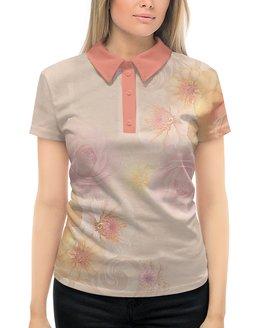 """Рубашка Поло с полной запечаткой """"Цветочный узор"""" - цветы, розовый, розы, нежный, цветы цинии"""