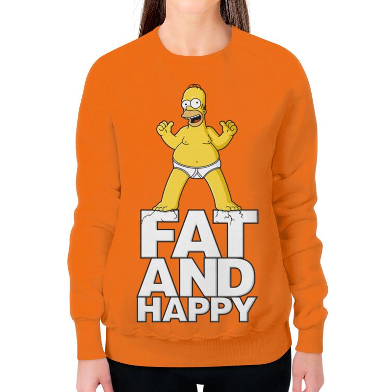Свитшот женский с полной запечаткой Printio Гомер симпсон. толстый и счастливый свитшот print bar счастливый медведь
