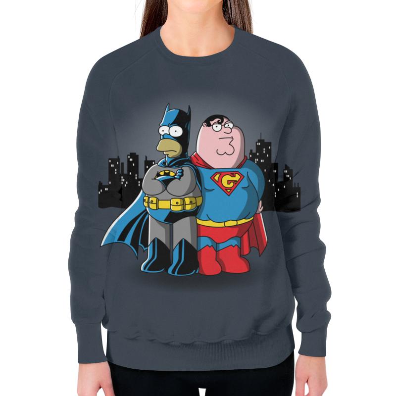 все цены на Свитшот женский с полной запечаткой Printio Бэтмен симпсон и супермен гриффин онлайн