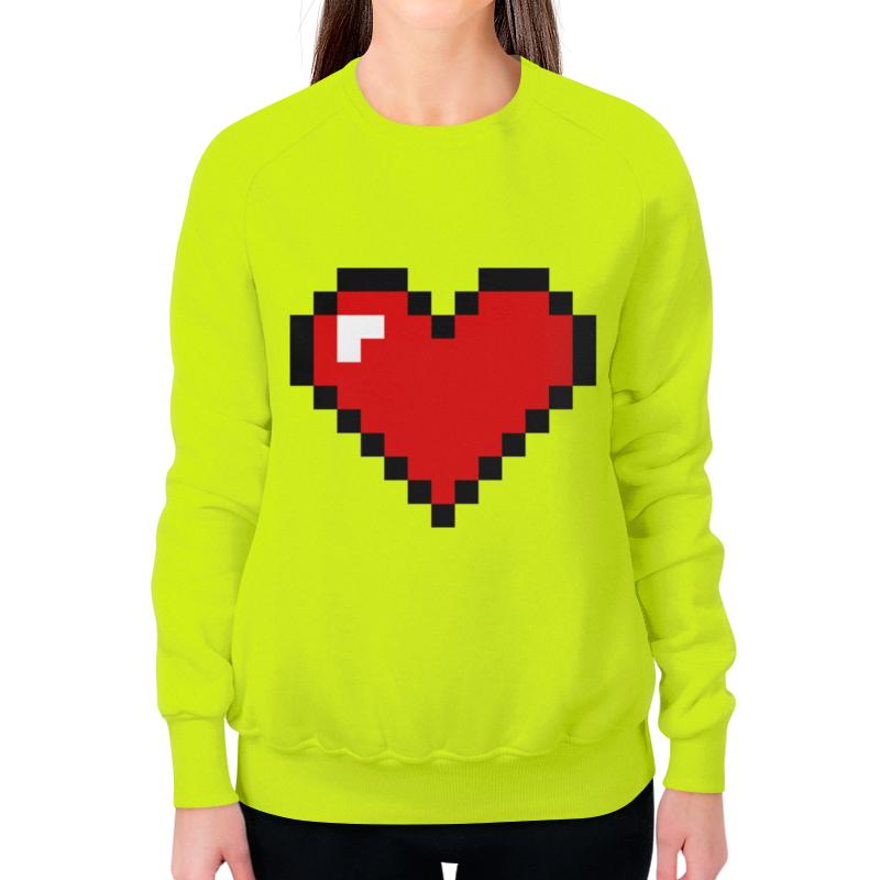 Свитшот женский с полной запечаткой Printio Сердце (8 bit)
