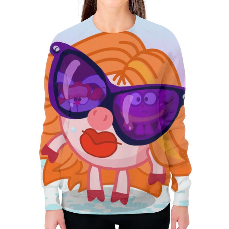 Свитшот женский с полной запечаткой Printio Мульт смешарик девочка в очках. цена и фото