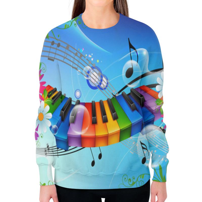 Свитшот женский с полной запечаткой Printio Музыка .ноты.звук.клавиши.пианино.цветы. музыка