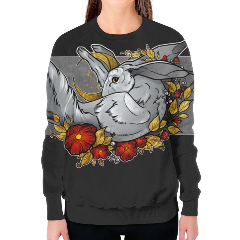 Свитшот женский с полной запечаткой Printio Follow the moon rabbit цена