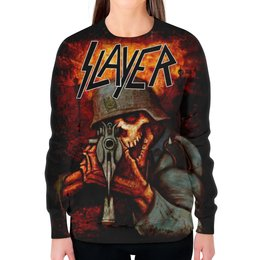 """Свитшот женский с полной запечаткой """"Slayer Band"""" - рок музыка, рок группа, slayer, thrash metal, трэш метал"""