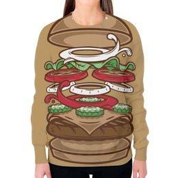 """Свитшот женский с полной запечаткой """"BURGER/БУРГЕР"""" - арт, еда, burger, burgerking"""