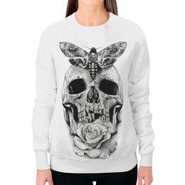 """Свитшот женский с полной запечаткой """"Череп"""" - skull, череп, бабочка, rose, роза"""