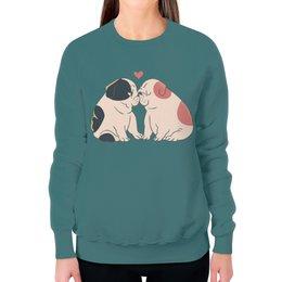"""Свитшот женский с полной запечаткой """"Мопсики"""" - dog, pug, собака, cute, мопс"""