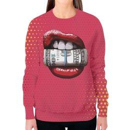 """Свитшот женский с полной запечаткой """"Губы и доллары"""" - деньги, губы, lips, доллары, dollars"""