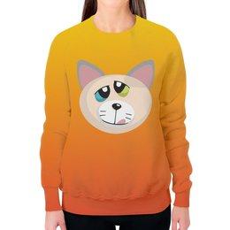 """Свитшот женский с полной запечаткой """"Кот Успех"""" - кот, кошак, котик, киска, wax"""