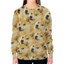 """Свитшот женский с полной запечаткой """"Doge """" - doge, сиба-ину, доге, сиба"""