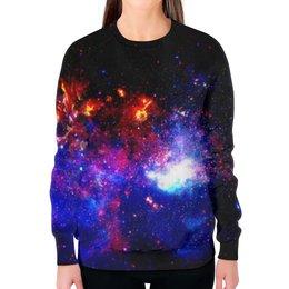 """Свитшот женский с полной запечаткой """"Великий Космос"""" - космос, наука, прогресс, денис гесс, the spaceway"""