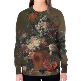 """Свитшот женский с полной запечаткой """"Ваза с цветами (Ян ван Хёйсум)"""" - цветы, картина, живопись, натюрморт, ян ван хёйсум"""