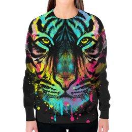 """Свитшот женский с полной запечаткой """"Тигр Абстракция"""" - коты, абстракция, тигр"""