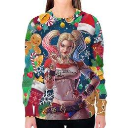 """Свитшот женский с полной запечаткой """"Merry Christmas (Harley Quinn)"""" - новый год, рождество, харли квинн, отряд самоубийц, любителям комиксов"""