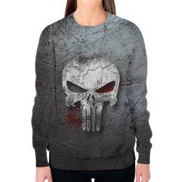 """Свитшот женский с полной запечаткой """"Каратель (Punisher)"""" - skull, череп, punisher, каратель, фрэнк кастл"""