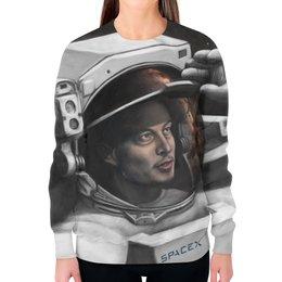 """Свитшот женский с полной запечаткой """"SpaceX. Dragon"""" - космос, вселенная, thespaceway, spacex, маск"""