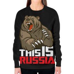 """Свитшот женский с полной запечаткой """"This is Russia (Это Россия)"""" - медведь, россия, russia, это россия, патриотический принт"""