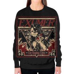 """Свитшот женский с полной запечаткой """"Exumer (thrash metal band)"""" - рок группа, тяжёлый рок, thrash metal, треш метал, exumer"""