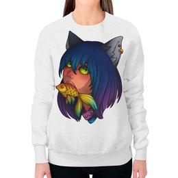 """Свитшот женский с полной запечаткой """"Киса с рыбкой"""" - кот, рыбка, staciart"""
