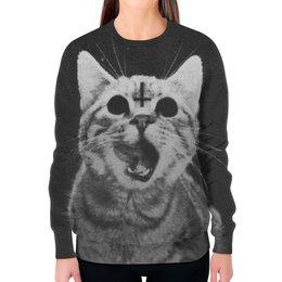 """Свитшот женский с полной запечаткой """"Кот с крестом"""" - кот, крест, коты"""
