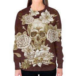 """Свитшот женский с полной запечаткой """"Day of the Dead"""" - череп, цветы, рок, кости"""