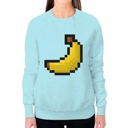 """Свитшот женский с полной запечаткой """"Пиксельный банан"""" - 8 bit, пиксельный, 8 бит, банан, wax"""