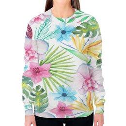 """Свитшот женский с полной запечаткой """"Тропики"""" - цветы, листья, лес, природа, букет"""