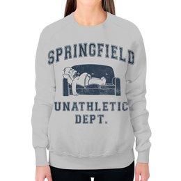 """Свитшот женский с полной запечаткой """"Springfield Unathletic Dept"""" - simpsons, прикольные, симпсоны, гомер симпсон, лень"""