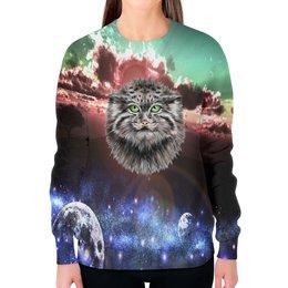 """Свитшот женский с полной запечаткой """"Кот в космосе"""" - кот, звезды, котенок, космос, коты в космосе"""