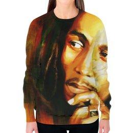 """Свитшот женский с полной запечаткой """"Bob Marley (Боб Марли)"""" - регги, боб марли, bob marley"""