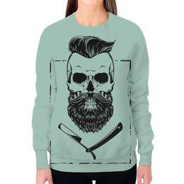 """Свитшот женский с полной запечаткой """"Бородатый череп"""" - skull, череп, кости, борода, bone"""